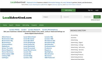 LocalAdvertised - National to local business related information listings.